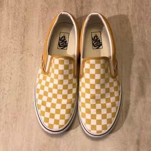 Vans Yellow Checkerboard Slip On Shoes